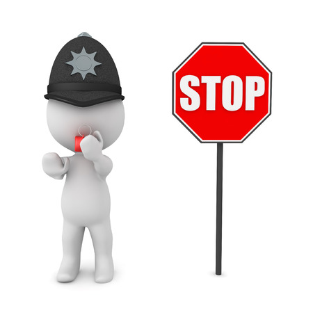 3D Police man with whistle next to stop sign. 3D rendering isolated on white.