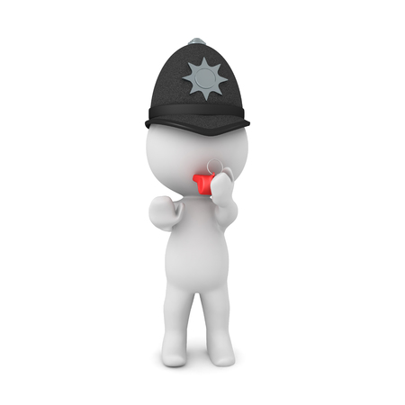 3D Police constable trying to stop people. 3D rendering isolated on white.