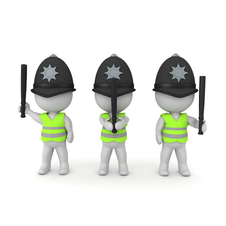 3D Rendering of riot police with police batons. 3D Rendering isolated on white. Stock Photo