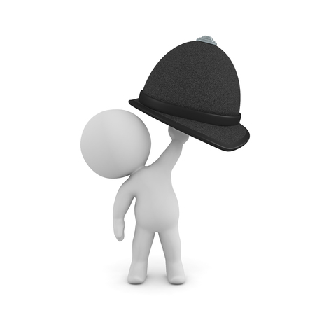 3D Character holing up british bobby hat. 3D rendering isolated on white.