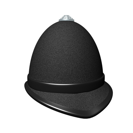 3D Rendering of british police hat. 3D rendering isolated on white. Banque d'images