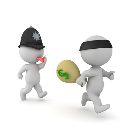 3D Police man chasing bank robber. 3D rendering isolated on white. Stock Photo