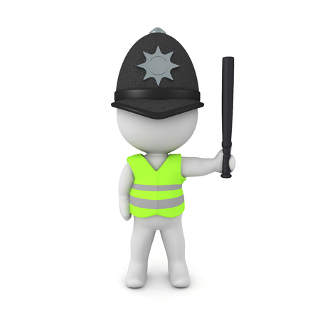 3D Rendering of british traffic warden. 3D Rendering isolated on white. Archivio Fotografico