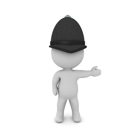 3D British policeman pointing to the right. 3D rendering isolated on white. Stock Photo
