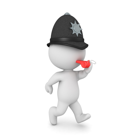 3D Constable running and blowing whistle. 3D rendering isolated on white. 写真素材