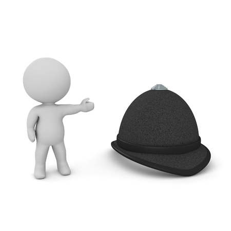 3D Character showing british police hat. 3D rendering isolated on white.