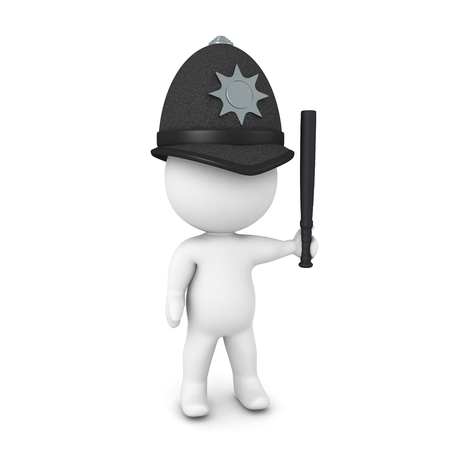 3D British cop wih police baton. 3D Rendering isolated on white.