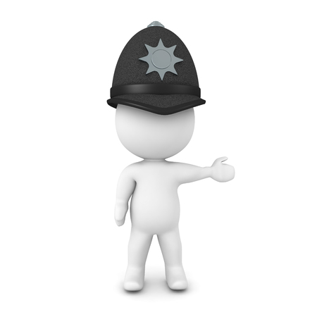3D Cop wearing british bobby hat. He is pointing to the right. 3D Rendering isolated on white.