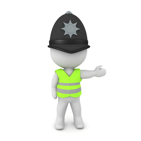 3D British cop wearing yellow vest. 3D Rendering isolated on white.