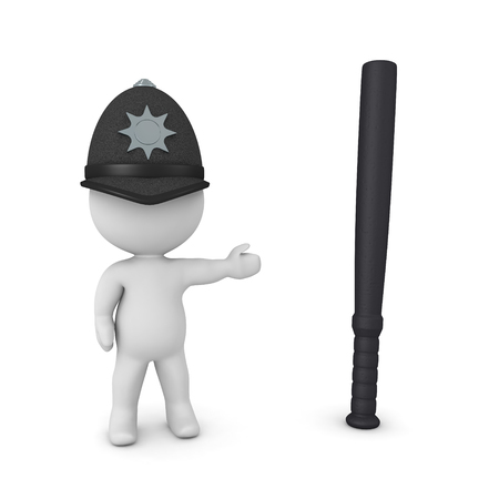 3D British cop showing police baton. 3D Rendering isolated on white.