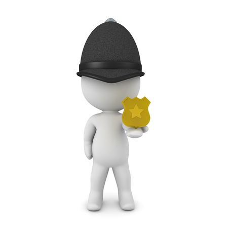 3D Constable showing police badge. 3D rendering isolated on white.