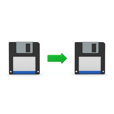 3D Rendering of data transfer between floppy disks. 3D Rendering isolated on white.
