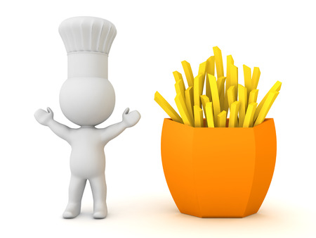 3D Chef next to french fries. 3D Rendering isolated on white.