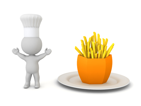 3D Happy chef with french fries. 3D Rendering isolated on white. Stock Photo
