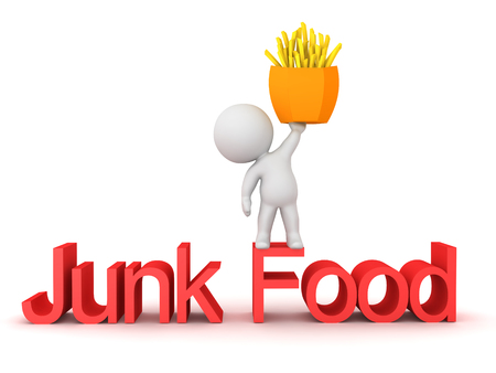3D Character standing on top of junk food text with fries. 3D Rendering isolated on white. Stock Photo