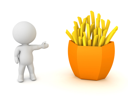 3D Character showing a serving of french fries. 3D Rendering isolated on white. Stock Photo