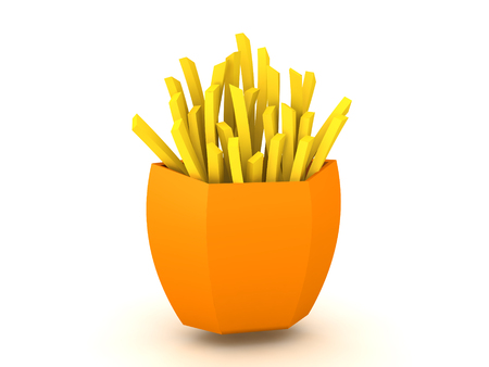 3D Rendering of french fries. 3D Rendering isolated on white.