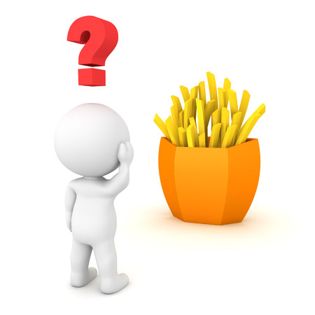3D Character looking confused at french fries. 3D Rendering isolated on white.