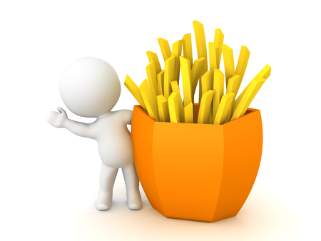 3D Character waving from behind french fries. 3D Rendering isolated on white. Stock Photo