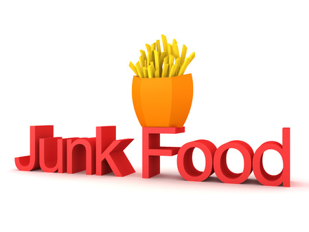 3D Rendering of text saying junk food and french fries on top. 3D Rendering isolated on white. Stock Photo