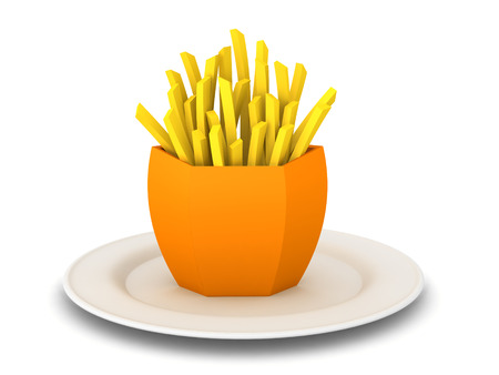 3D Rendering of french fries on a plate. 3D Rendering isolated on white.