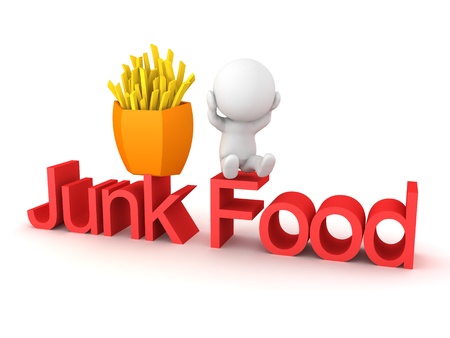 3D Rendering of junk food addiction concept. 3D Rendering isolated on white.