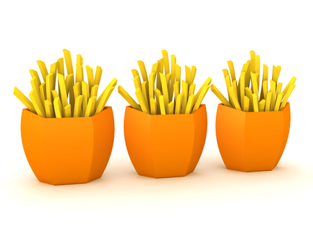 3D Rendering of three servings of french fries. 3D Rendering isolated on white. Stock Photo
