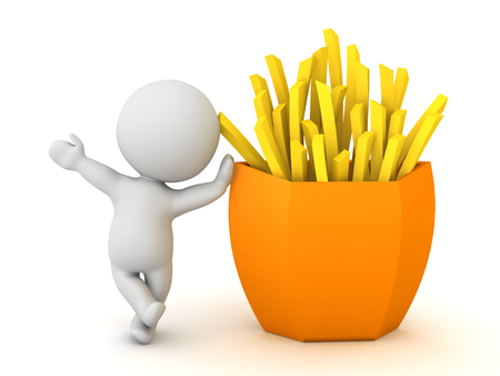 3D Character leaning on french fries. 3D Rendering isolated on white. Stock Photo