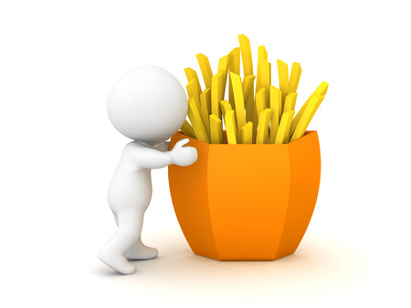 3D Character holding french fries. 3D Rendering isolated on white.