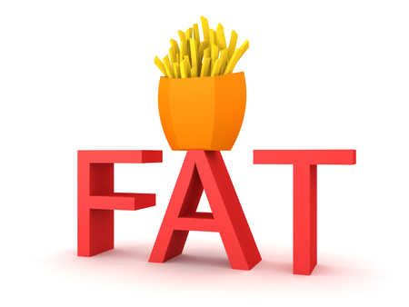 3D Rendering of text saying fat and french fries on top. 3D Rendering isolated on white. Stock Photo