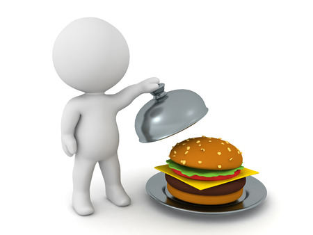 3D Character presenting hamburger in stainless steel cloche. 3D Rendering isolated on white.