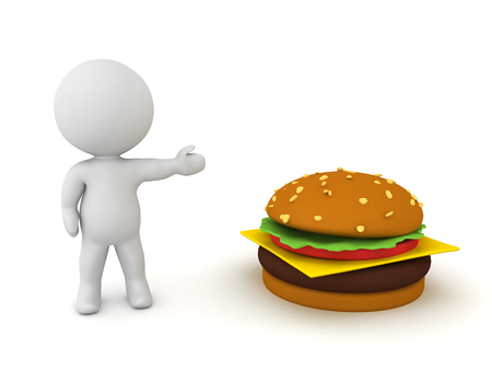 3D Character showing a hamburger. 3D Rendering isolated on white.