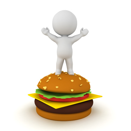 3D Character standing on top of hamburger. 3D Rendering isolated on white. Stock Photo