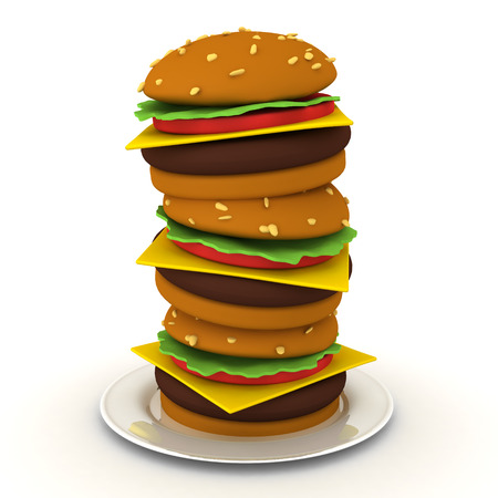 3D Rendering of fast food burger stack. 3D Rendering isolated on white.