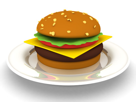 3D Rendering of hamburger on a plate. 3D Rendering isolated on white. Stock Photo