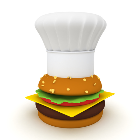 3D Rendering of hamburger with chef hat on top. 3D Rendering isolated on white. Stock Photo