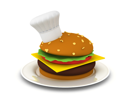 3D Rendering of gourmet burger. 3D Rendering isolated on white.