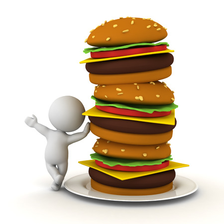 3D Character leaning on stack of hamburgers. 3D Rendering isolated on white.