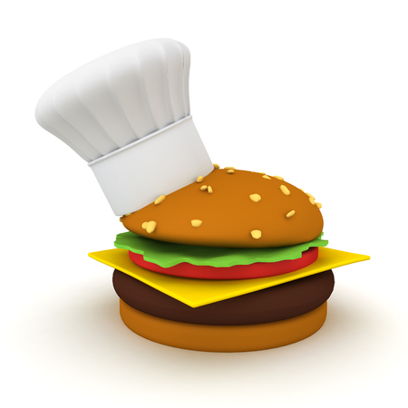 3D Rendering of a burger with small chef hat on its side. 3D Rendering isolated on white.