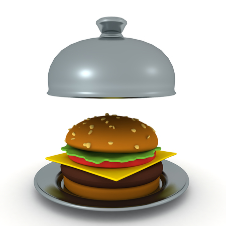 3D Rendering of hamburger in stainless steel cloche. 3D Rendering isolated on white. Stock Photo