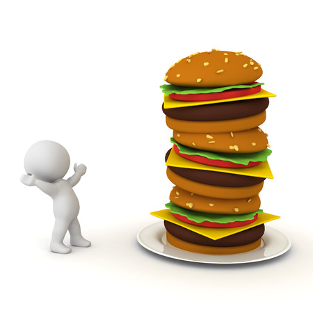3D Character is in awe of burger stack. 3D Rendering isolated on white.