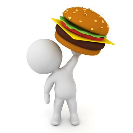 3D Character holding up a big burger. 3D Rendering isolated on white. Stock Photo