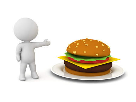 3D Character showing a hamburger on a plate. 3D Rendering isolated on white.