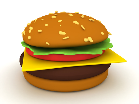 3D Rendering of fast food burger. 3D Rendering isolated on white. Stock Photo