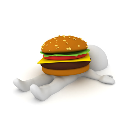 3D Character lying down with burger on top of him. 3D Rendering isolated on white. Imagens