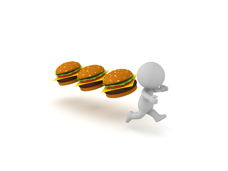 3D Character being chased by hamburgers.  Fast food addiction concept. 3D Rendering isolated on white.