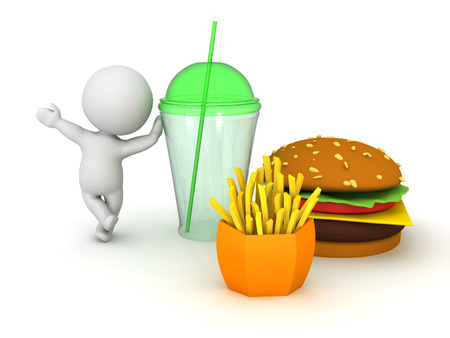 3D Character presenting fast food menu. 3D Rendering isolated on white. Stock Photo