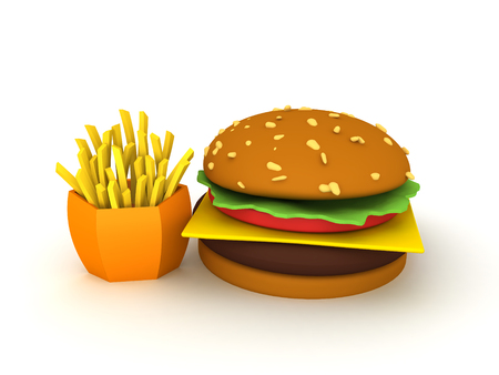 3D Rendering of burger and fries. 3D Rendering isolated on white.