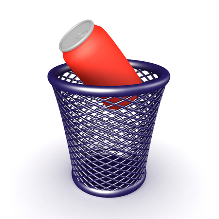 3D Rendering of soda can in waste basket. 3D Rendering isolated on white. Reklamní fotografie