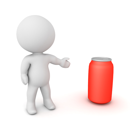 3D Character showing red soda can. 3D Rendering isolated on white.